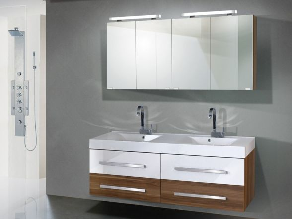 Design Badezimmermöbel - Set mit 2 Spiegelschränken und 160cm Waschtisch