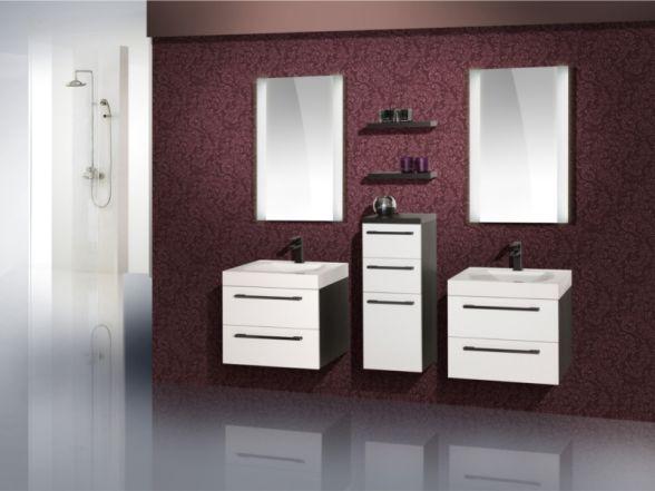 Design Badezimmermöbel - Set mit einem Highboard und 2 Waschplätzen