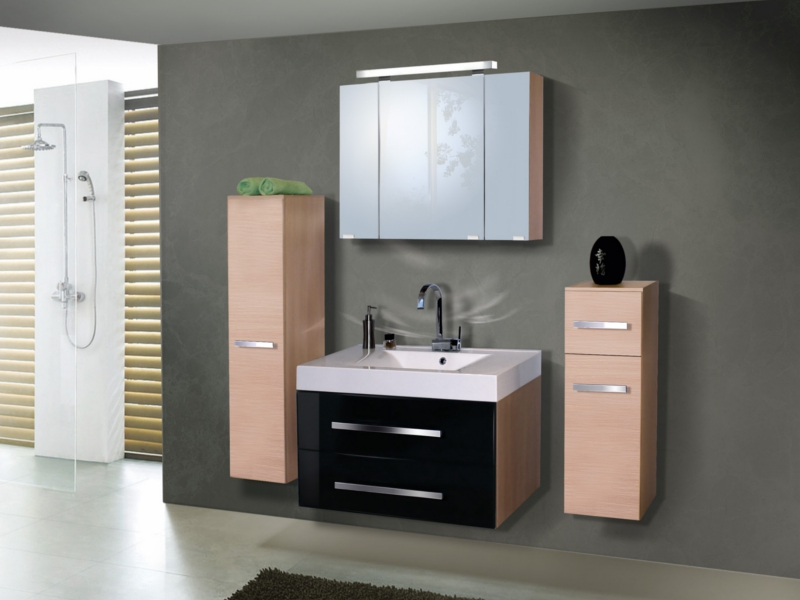 design badezimmerm bel set mit einem spiegelschrank und 90 er waschtisch paul gottfried. Black Bedroom Furniture Sets. Home Design Ideas