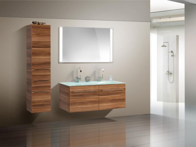 design badezimmerm bel set mit glasdoppelwaschtisch midischrank und highboard paul gottfried. Black Bedroom Furniture Sets. Home Design Ideas