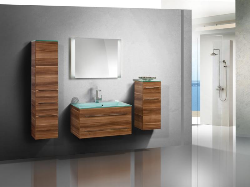 design badezimmerm bel set mit glaswaschtisch midischrank und highboard paul gottfried. Black Bedroom Furniture Sets. Home Design Ideas