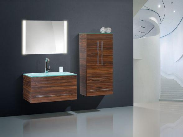 Design Badezimmermöbel - Set mit Glaswaschtisch, Midischrank und Highboard