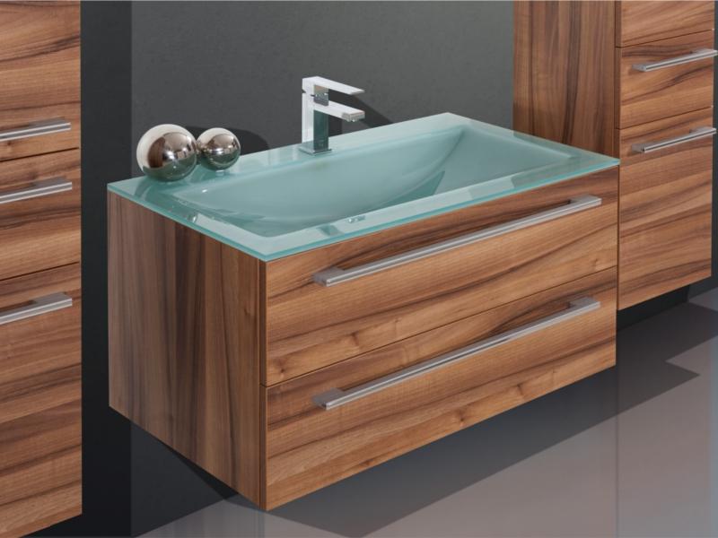 design badezimmerm bel set mit glaswaschtisch und highboard paul gottfried. Black Bedroom Furniture Sets. Home Design Ideas
