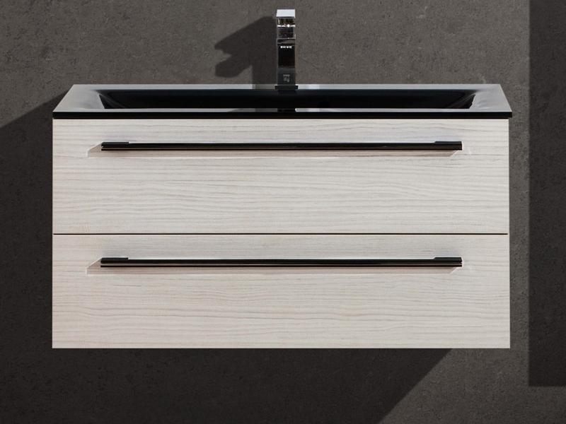 design badezimmerm bel set mit glaswaschtisch und. Black Bedroom Furniture Sets. Home Design Ideas