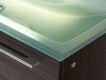 Design Badezimmermöbel - Set mit Glaswaschtisch und Highboard