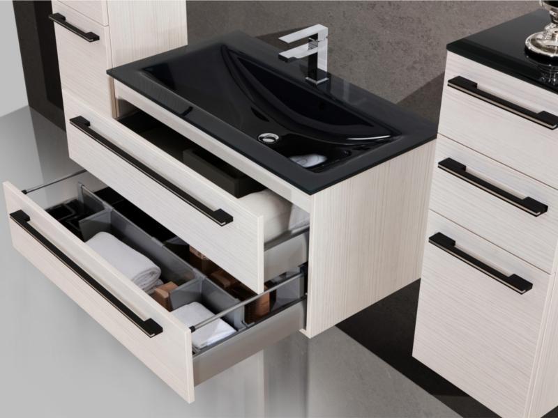 design badm bel set mit glaswaschtisch und riesigem spiegel made in germany. Black Bedroom Furniture Sets. Home Design Ideas
