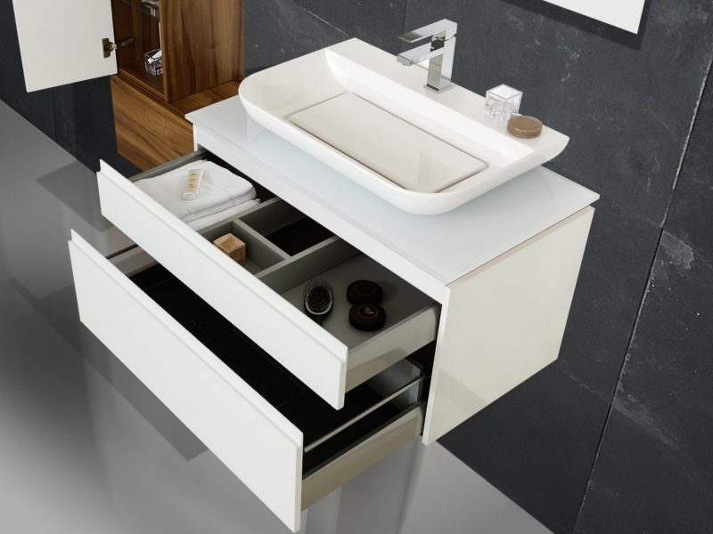 design badezimmerm bel set mit glaswaschtischplatte und mineralgusswaschtisch paul gottfried. Black Bedroom Furniture Sets. Home Design Ideas