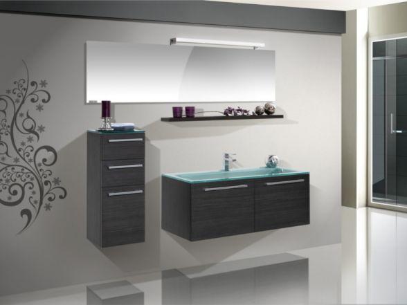 Design Badezimmermöbel - Set mit Highboard, Glaswaschtisch und Spiegel