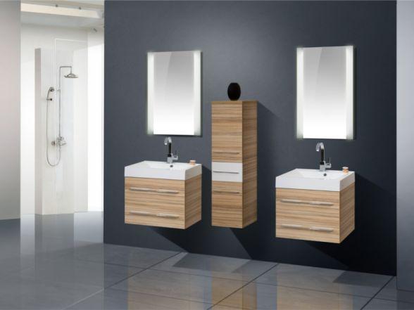 Design Badezimmermöbel - Set mit Midischrank und 2 Waschplätzen