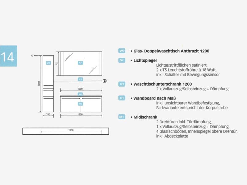 design badezimmerm bel set mit midischrank und glaswaschtisch paul gottfried. Black Bedroom Furniture Sets. Home Design Ideas
