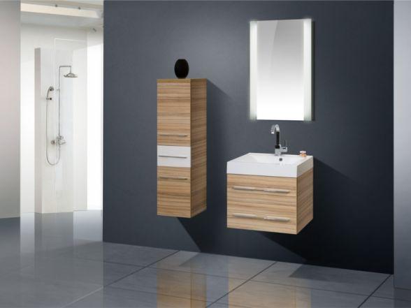 Design Badezimmermöbel - Set mit Midischrank und Lichtpiegel