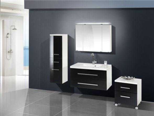 Design Badezimmermöbel - Set mit Midischrank und Rollcontainer