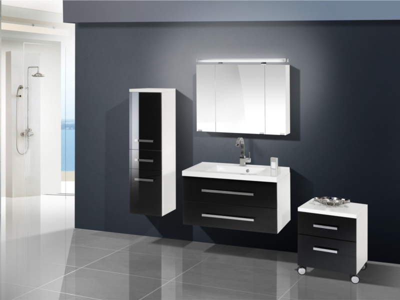 Design badezimmerm bel set mit midischrank und for Badezimmer rollcontainer design