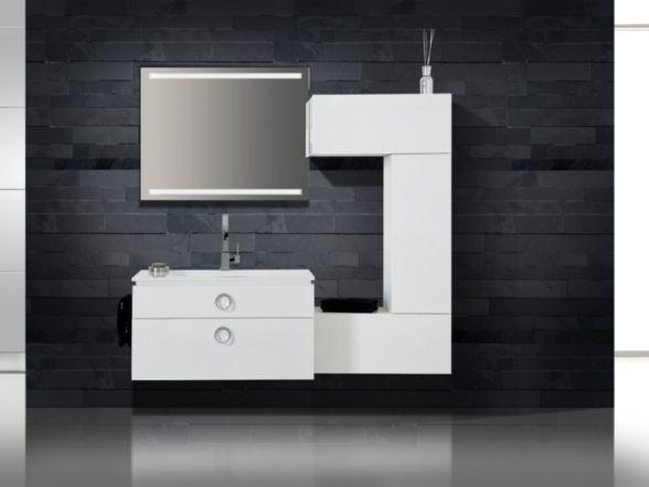 Design Badezimmermöbel - Set mit Midischrank und ultraflachem Mineralgusswaschtisch