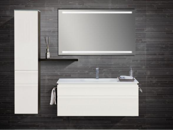 Design Badezimmermöbel - Set mit Mineralgusswaschtisch, Midischrank und Spiegel