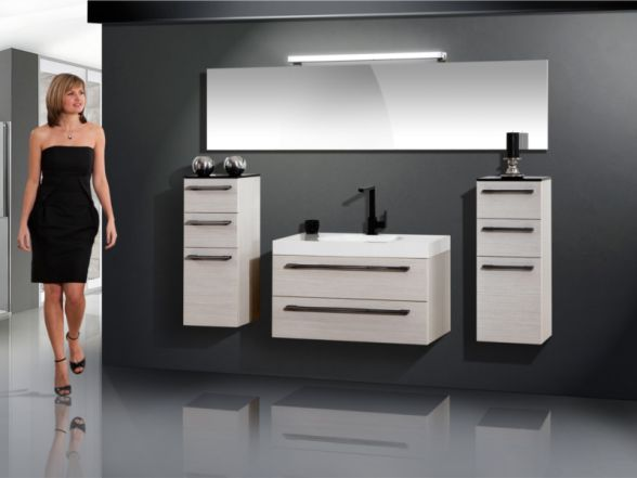 Design Badezimmermöbel - Set mit riesigem Spiegel und Mineralgusswachtisch