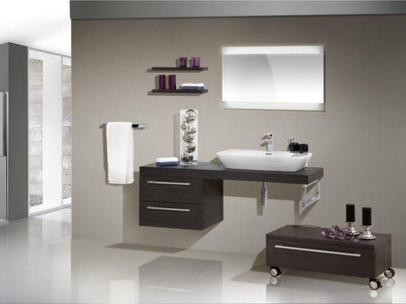 Design Badezimmermöbel - Set mit Waschtischplatte und Keramikwaschtisch