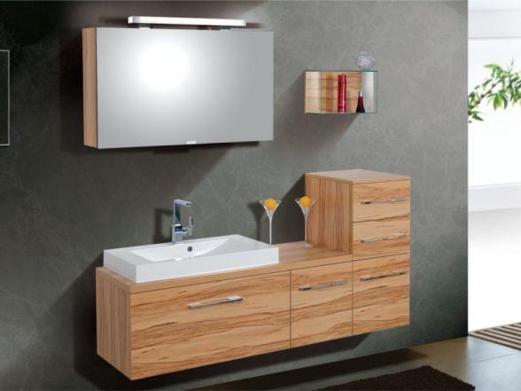 Design Badezimmermöbel - Set mit Waschtischplatte und Spiegelschrank