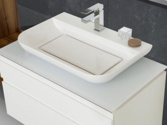 Design Waschplatz mit Glaswaschtischplatte und Mineralgusswaschtisch 90cm