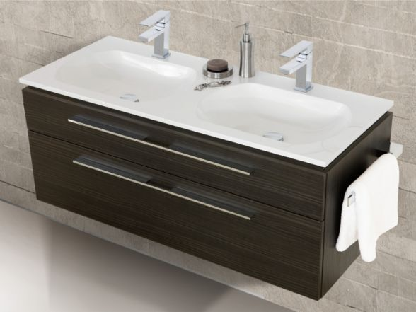 Design Waschplatz mit ultraflachem Mineralguss- Doppelwaschtisch 120cm