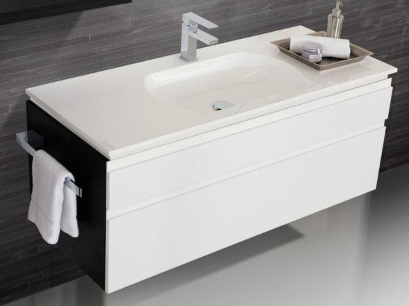 Design Waschplatz mit ultraflachem Mineralgusswaschtisch 120cm