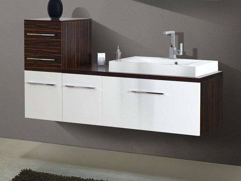 Design Waschplatz mit Waschtischplatte und Highboard 170cm - Paul ... | {Waschtischplatte mit schublade 59}
