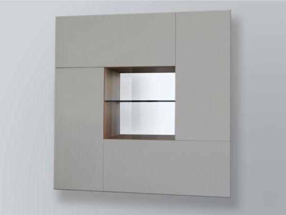 """Design Wohnwand """"CUBE"""" mit Glaselementen und LED-Beleuchtung"""