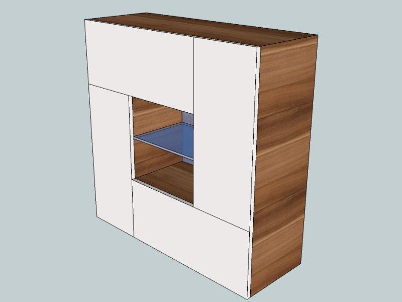design wohnwand cube mit glaselementen und led beleuchtung paul gottfried. Black Bedroom Furniture Sets. Home Design Ideas