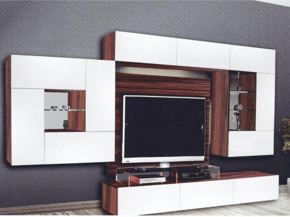 """Design Wohnwand """"Quadron"""" mit Glaselementen und LED-Beleuchtung"""