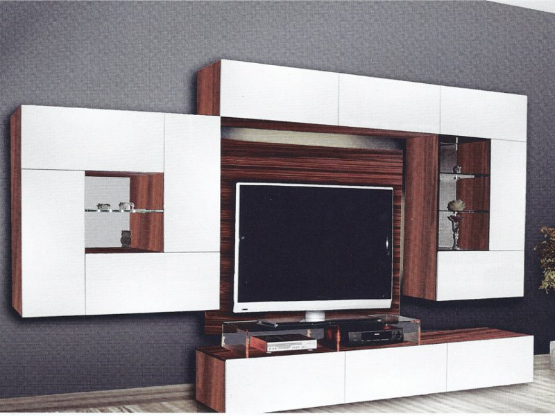 design wohnwand quadron mit glaselementen und led. Black Bedroom Furniture Sets. Home Design Ideas