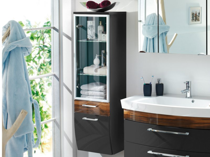posseik hochschrank glast r rima 40cm anthrazit walnuss nachbildung paul gottfried. Black Bedroom Furniture Sets. Home Design Ideas