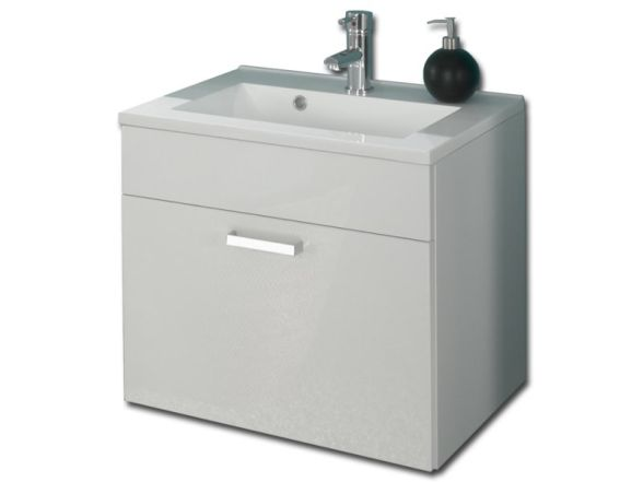 """Posseik Waschplatz """"Marano"""" 60cm, Weiß/ Weiß Hochglanz"""