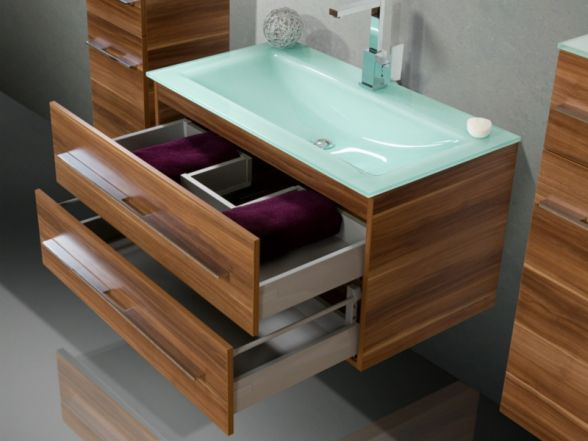 """Waschplatz """"Salerno"""" 90 cm mit Glaswaschtisch"""