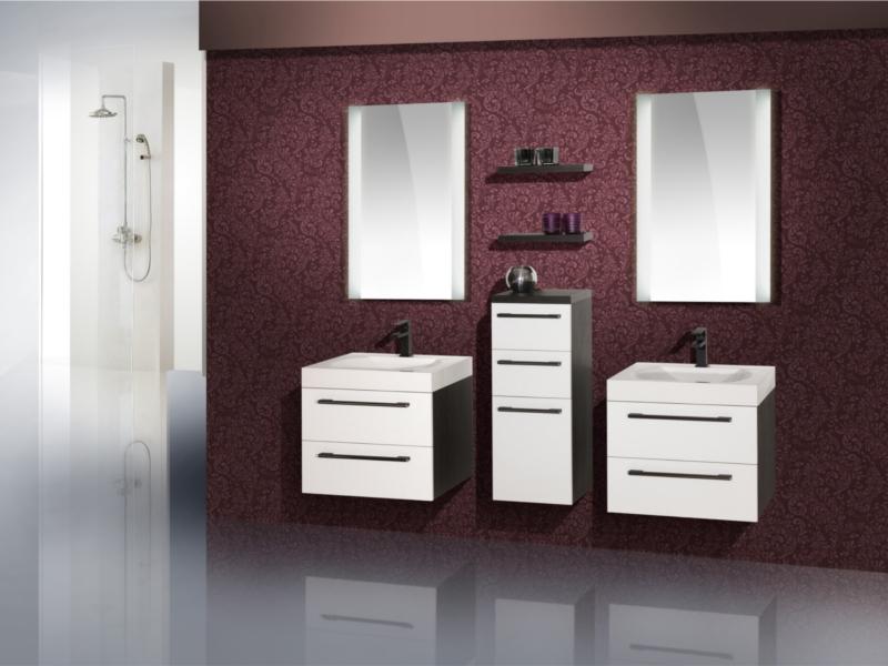 design badezimmerm bel set mit einem highboard und 2 waschpl tzen paul gottfried. Black Bedroom Furniture Sets. Home Design Ideas