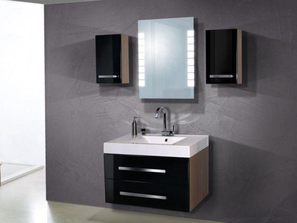 Design Badezimmermöbel - Set mit einem Spiegel und 2 Oberschränken