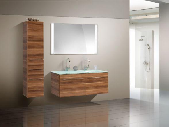 Design Badezimmermöbel - Set mit Glasdoppelwaschtisch, Midischrank und Highboard