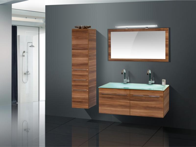 Design Badezimmermöbel - Set mit Glaswaschtisch, Midischrank und ...