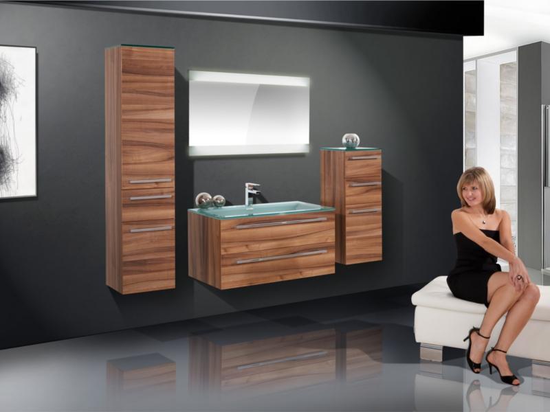 Design Badezimmermöbel - Set mit Glaswaschtisch und Highboard - Paul ...