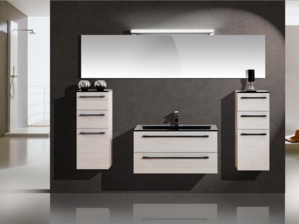 Design Badezimmermöbel - Set mit Glaswaschtisch und riesigem Spiegel