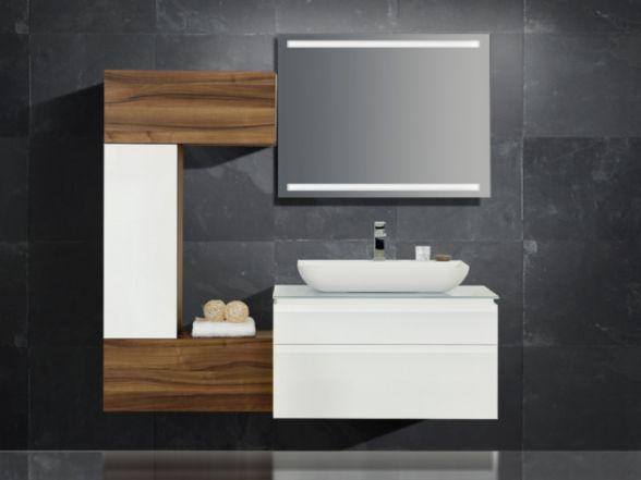 Design Badezimmermöbel - Set mit Glaswaschtischplatte und Mineralgusswaschtisch