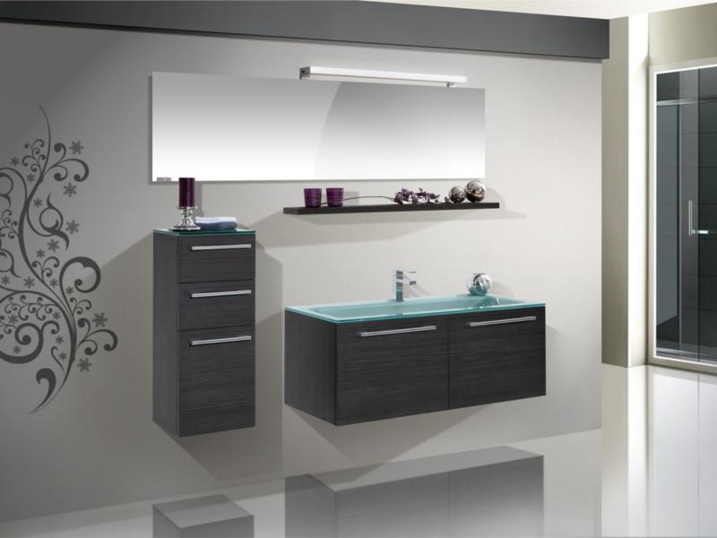 Design badezimmerm bel set mit highboard glaswaschtisch und spiegel paul gottfried - Italienisches badezimmer design ...