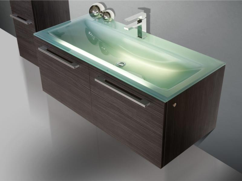 Design Badezimmermöbel - Set mit Highboard, Glaswaschtisch und ...