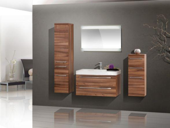 Design Badezimmermöbel - Set mit Midischränken und Mineralgusswaschtisch