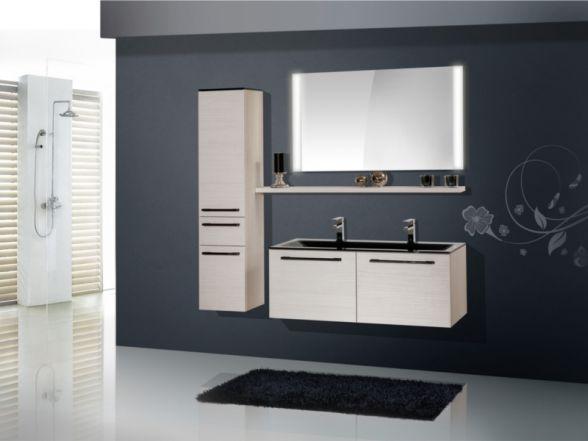 Design Badezimmermöbel - Set mit Midischrank und Glaswaschtisch