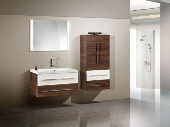 Design Badezimmermöbel - Set mit Midischrank und Lichtspiegel