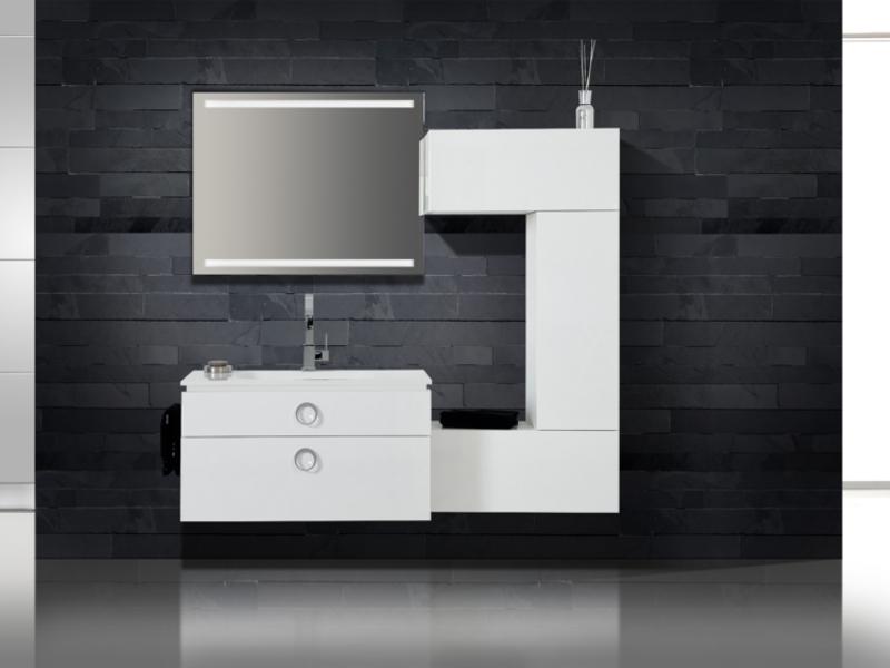design badezimmerm bel set mit midischrank und ultraflachem mineralgusswaschtisch paul gottfried. Black Bedroom Furniture Sets. Home Design Ideas