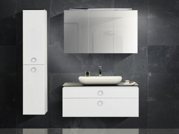 Design Badezimmermöbel - Set mit Mineralgusswaschtisch, Glas-Waschtischplatte und Spiegelschrank