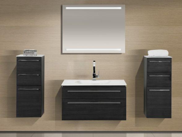Design Badezimmermöbel - Set mit Mineralgusswaschtisch und 2 Highboards