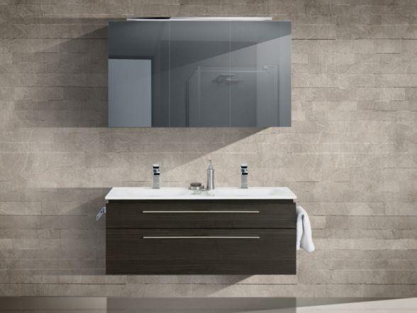 Design Badezimmermöbel - Set mit Mineralgusswaschtisch und Spiegelschrank