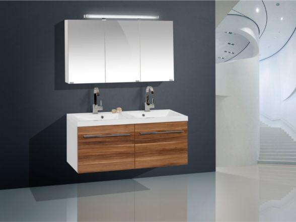 Design Badezimmermöbel - Set mit Minralgussdoppelwaschtisch, Midischrank und Highboard